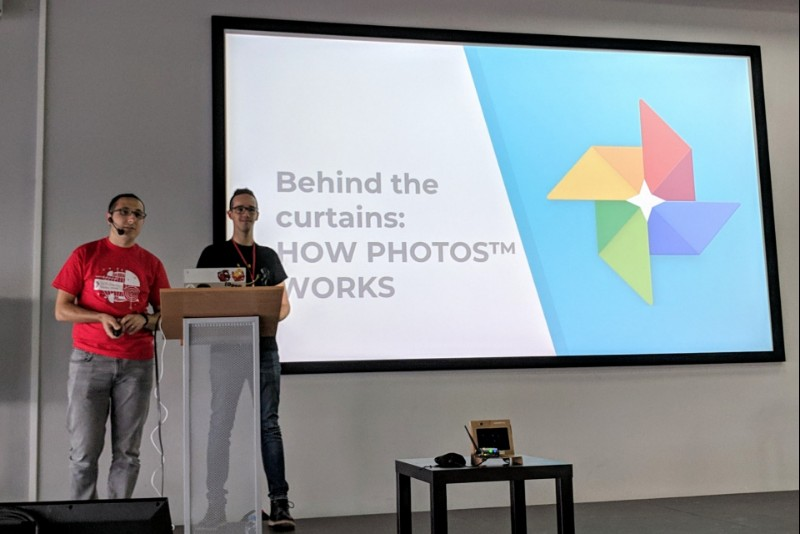 Me and Roberto on stage at DevFest Gorky 2018