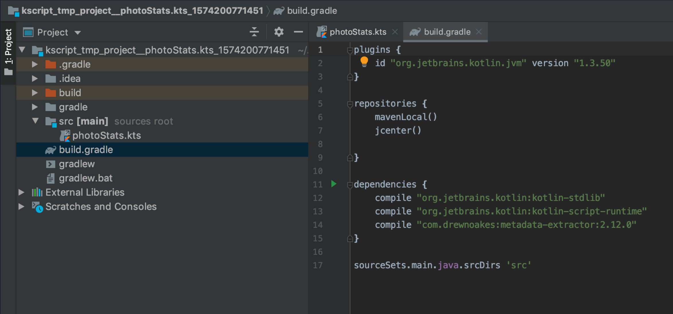 The temporary IntelliJ IDEA project created by kscript